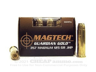 Magtech - Jacketed Hollow Point - 125 Grain 357 Magnum Ammo - 20 Rounds