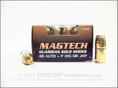 Magtech - Jacketed Hollow Point - 185 Grain 45 ACP Ammo - 1000 Rounds