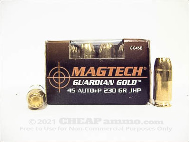 Magtech - Jacketed Hollow Point - 230 Grain 45 ACP Ammo - 1000 Rounds