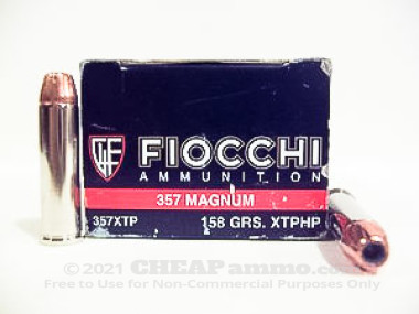 Fiocchi - Jacketed Hollow Point - 158 Grain 357 Magnum Ammo - 50 Rounds