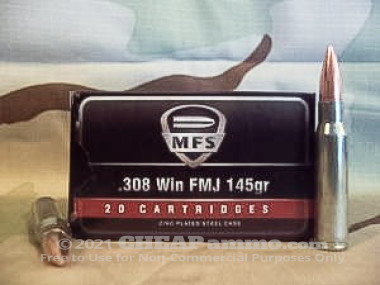 Military Surplus - Full Metal Jacket - 145 Grain 308 Winchester  Ammo - 20 Rounds