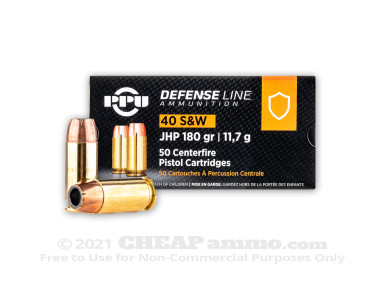 Prvi Partizan - Jacketed Hollow Point - 180 Grain 40 S&W Ammo - 50 Rounds