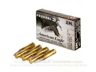 Federal - Full Metal Jacket Boat Tail - 55 Grain 223 Remington Ammo - 500 Rounds