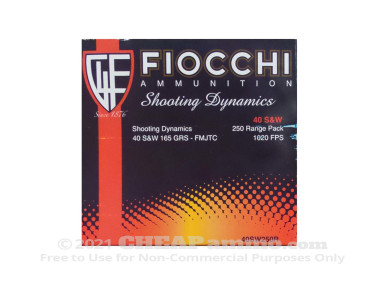 Fiocchi Full Metal Jacket (FMJ) 165 Grain 40 Smith & Wesson  Ammo - 250 Rounds