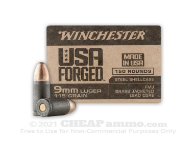Winchester Forged Full Metal Jacket (FMJ) 115 Grain 9mm Luger (9x19)  Ammo - 750 Rounds