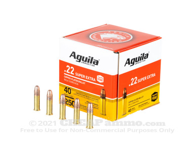 Aguila - Copper Plated Round Nose - 40 Grain 22 LR Ammo - 250 Rounds