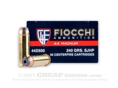 Fiocchi - Jacketed Hollow Point - 240 Grain 44 Magnum Ammo - 500 Rounds