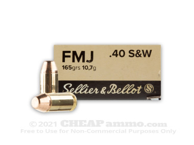 Sellier & Bellot Full Metal Jacket (FMJ) 165 Grain 40 Smith & Wesson  Ammo - 50 Rounds