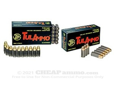 Tula Cartridge Works - Full Metal Jacket - 115 Grain 9mm Luger Ammo - 1000 Rounds
