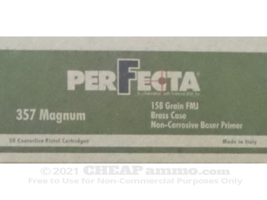 Fiocchi Full Metal Jacket Flat Nose (FMJFN) 158 Grain 357 Magnum  Ammo - 1000 Rounds