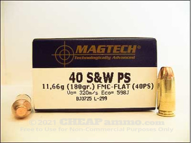 Magtech - Full Metal Jacket - 180 Grain 40 Smith & Wesson Ammo - 1000 Rounds