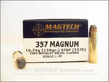 Magtech - Semi Jacketed Soft Point - 158 Grain 357 Magnum Ammo - 50 Rounds