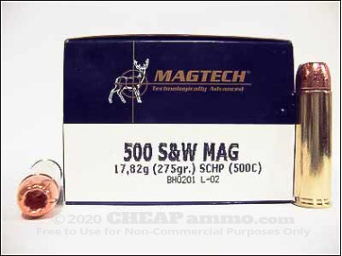 Magtech - Solid Copper Hollow Point - 275 Grain 500 S&W Magnum Ammo - 20 Rounds