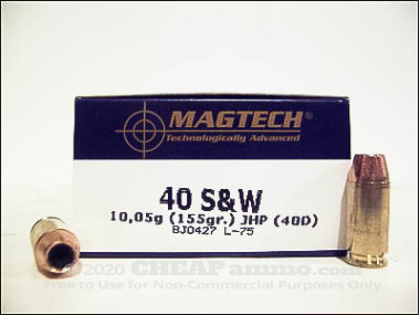 Magtech - Jacketed Hollow Point - 155 Grain 40 Smith & Wesson Ammo - 50 Rounds