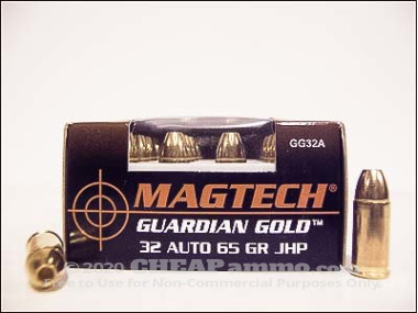 Magtech - Jacketed Hollow Point - 65 Grain 32 Auto Ammo - 20 Rounds