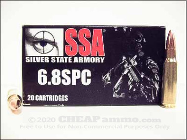 Silver State Armory - Hollow Point - 115 Grain 6.8 SPC Ammo - 20 Rounds