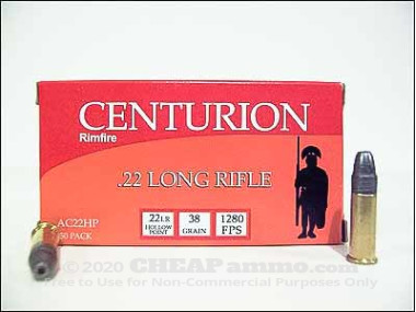 Centurion - Hollow Point - 38 Grain 22 Long Rifle Ammo - 50 Rounds