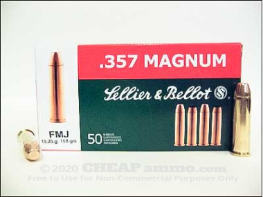 Sellier & Bellot - Full Metal Jacket - 158 Grain 357 Magnum Ammo - 50 Rounds