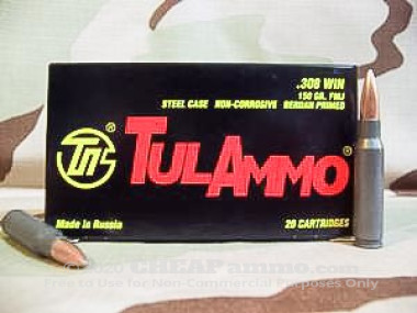 Tula Cartridge Works - Full Metal Jacket - 150 Grain 308 Winchester  Ammo - 500 Rounds