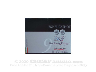 "Baschieri & Pellagri 2-3/4"" #00 Buck 1-1/5 oz. 12 Gauge  Ammo - 10 Rounds"