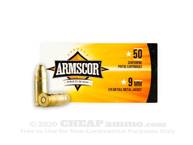 Armscor Full Metal Jacket (FMJ) 124 Grain 9mm Luger (9x19) Ammo - 50 Rounds