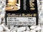 Sellier & Bellot - Full Metal Jacket - 123 Grain 7.62X39 Ammo - 20 Rounds