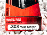 Black Hills Ammunition - Hollow Point Boat Tail Match - 168 Grain 308 Win Ammo - 100 Rounds