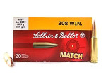 Sellier & Bellot - Hollow Point Boat Tail - 168 Grain 308 Winchester  Ammo - 20 Rounds