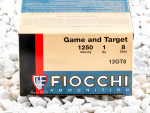 """Fiocchi Game and Target 2-3/4"""" #8 Shot 1 oz. 12 Gauge  Ammo - 250 Rounds"""
