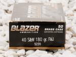 40 S&W - 180 Grain FMJ - Blazer Brass - 50 Rounds