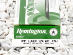 Remington - Full Metal Jacket - 124 Grain 9mm Luger Ammo - 50 Rounds