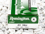 Remington - Full Metal Jacket - 180 Grain 40 Smith & Wesson Ammo - 50 Rounds