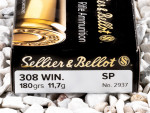 Sellier & Bellot - Soft Point - 180 Grain 308 Winchester  Ammo - 20 Rounds