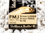 Sellier & Bellot - Full Metal Jacket - 124 Grain 9mm Luger Ammo - 50 Rounds
