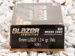 Blazer Brass Full Metal Jacket (FMJ) 124 Grain 9mm Luger (9x19) Ammo - 1000 Rounds
