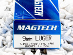 Magtech - Full Metal Jacket - 115 Grain 9mm Luger Ammo - 50 Rounds