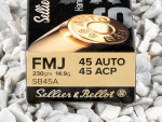 Sellier & Bellot - Full Metal Jacket - 230 Grain 45 ACP Ammo - 50 Rounds