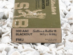 Sellier & Bellot Full Metal Jacket (FMJ) 147 Grain 300 AAC Blackout Ammo - 20 Rounds