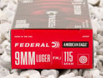 Federal Full Metal Jacket (FMJ) 115 Grain 9mm Luger (9x19)  Ammo - 50 Rounds