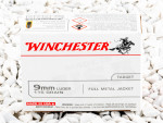 Winchester Full Metal Jacket (FMJ) 115 Grain 9mm Luger (9x19) Ammo - 100 Rounds
