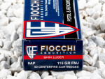 Fiocchi Full Metal Jacket (FMJ) 115 Grain 9mm Luger (9x19)  Ammo - 50 Rounds