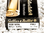 Sellier & Bellot - Full Metal Jacket - 147 Grain 308 Winchester  Ammo - 500 Rounds