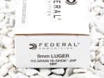 Federal - Jacketed Hollow Point - 115 Grain 9mm Ammo - 1000 Rounds