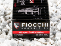 Image of Fiocchi - Full Metal Jacket - 93 Grain 30 Luger Ammo - 50 Rounds