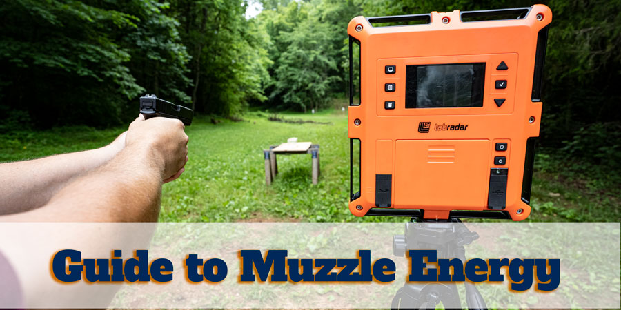 Guide to muzzle energy showing a pistol shooter at the range