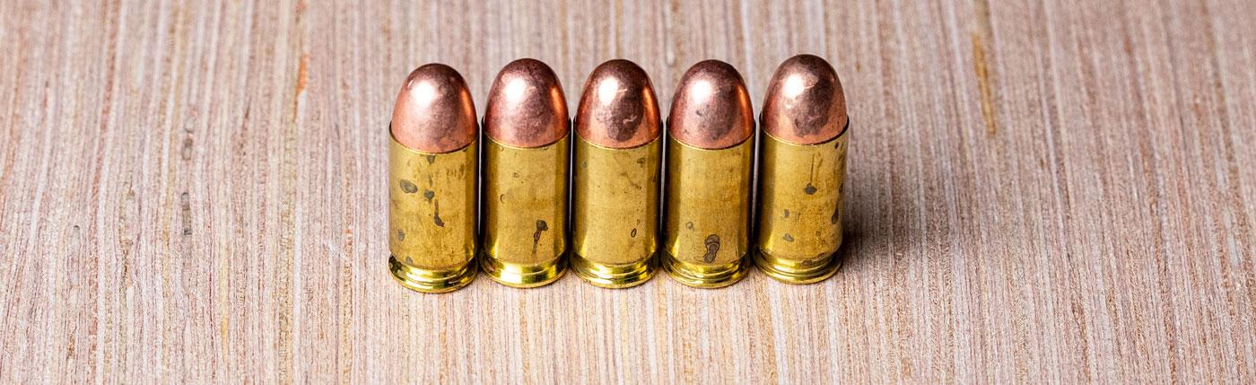 FMJ bullets in 9mm ammo